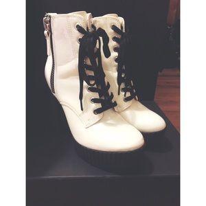 White lace up platform bootie